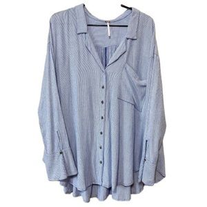 FREE PEOPLE Light Blue Oversized Button Down Tunic